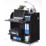 Meuble informatique noir à roulettes rideau imprimé