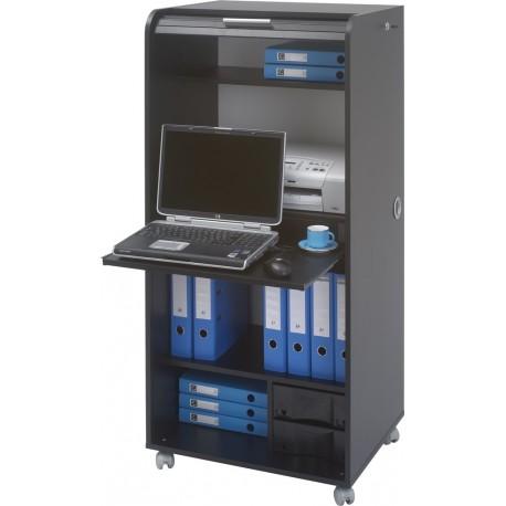 Armoire informatique mobile noire 2 tiroirs simmob - Armoire tiroir coulissant ...