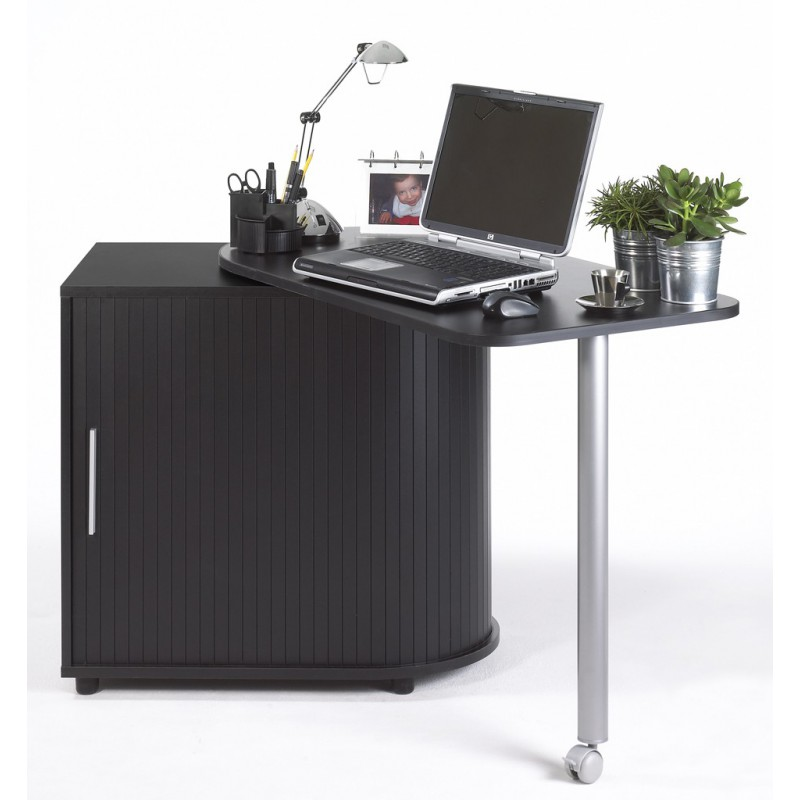 Computer Desk With Cabinet And Rotating Top Black Plain Or Printed