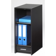 Complete desk, 2 roller-shutter cabinets + desktop, black, plain or printed