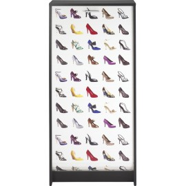 Shoe cabinet black shutter door, plain or printed