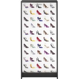Meuble à Chaussures Noir Rideau Imprimé