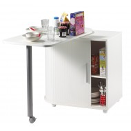 Compact storage cabinet with rotating top table, white, plain or printed