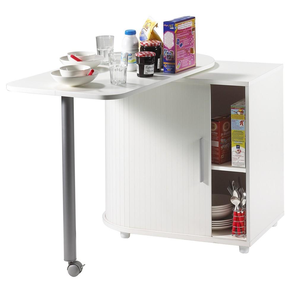 Meuble Bas De Rangement Pour Cuisine table pivotante et meuble de rangement de cuisine blanc - simmob