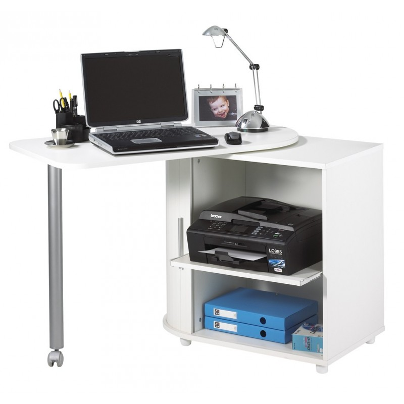 Computer Desk With Cabinet And Rotating Top White Plain Or