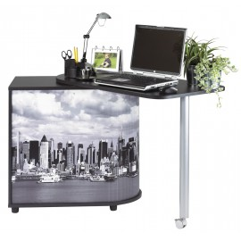 Computer desk with cabinet and rotating top, black, plain or printed