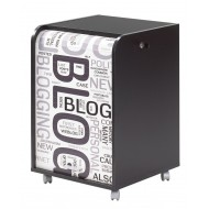 Office shutter storage trolley, black, 2 drawers
