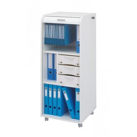 Caisson de Bureau Blanc à Roulettes Rideau Imprimé - SIMMOB