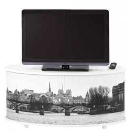 Meuble TV Blanc Grand Ecran, Façade Imprimée
