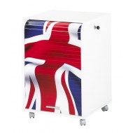 Office shutter storage trolley, white, 2 drawers