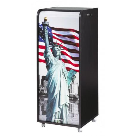 Grand caisson de bureau mobile noir rideau imprimé