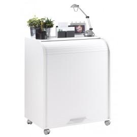 Meuble Informatique Blanc à Roulettes Rideau Imprimé