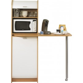 Kitchen storage cabinet with pivoting table 90°, 2 roller-shutters