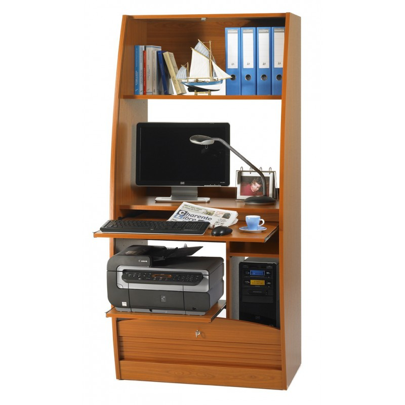Curved Office Secretary Desk With Shutter Door L 80 Cm Simmob