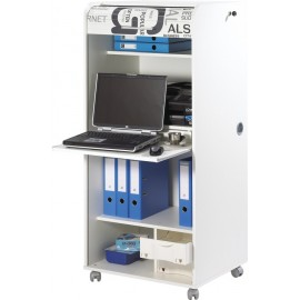 Office secretary desk on casters, with shutter-door, White, plain or printed