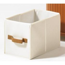 4 Paniers Blancs Tissu 1 Poignée Simili Cuir