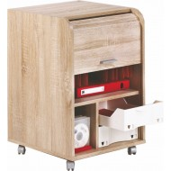 Office shutter storage trolley, oak, 2 drawers