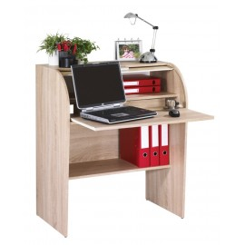 Home office desk with roller shutter, oak, plain or printed