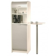 Large kitchen storage cabinet, coffee -break, white + Alu, 2 roller-shutters