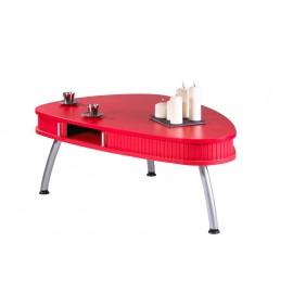 Table Basse Ovale Rouge à Rideau 3 Pieds