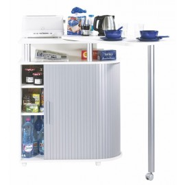 Kitchen island with rotating table 360° white + alu roller-shutter