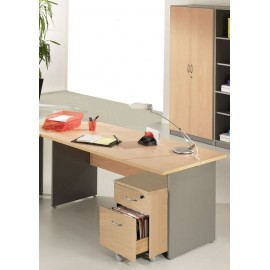 Pack Desk 160 + Pedestal 2 drawers + Tall office cupboard Winch Beech Alu