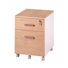 Office pedestal 2 drawers Ineo White + Light oak with pen-tray
