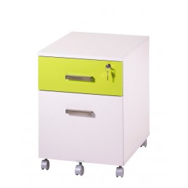 Office pedestal 2 drawers Ineo White + Light green with pen-tray