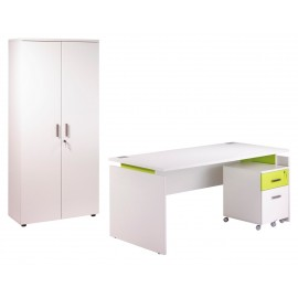 Pack Desk 160 + Pedestal 2 drawers + Tall office cupboard White + Light greenINEO