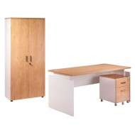 Pack Desk 160 + Pedestal 2 drawers + Tall office cupboard White + Light oak INEO