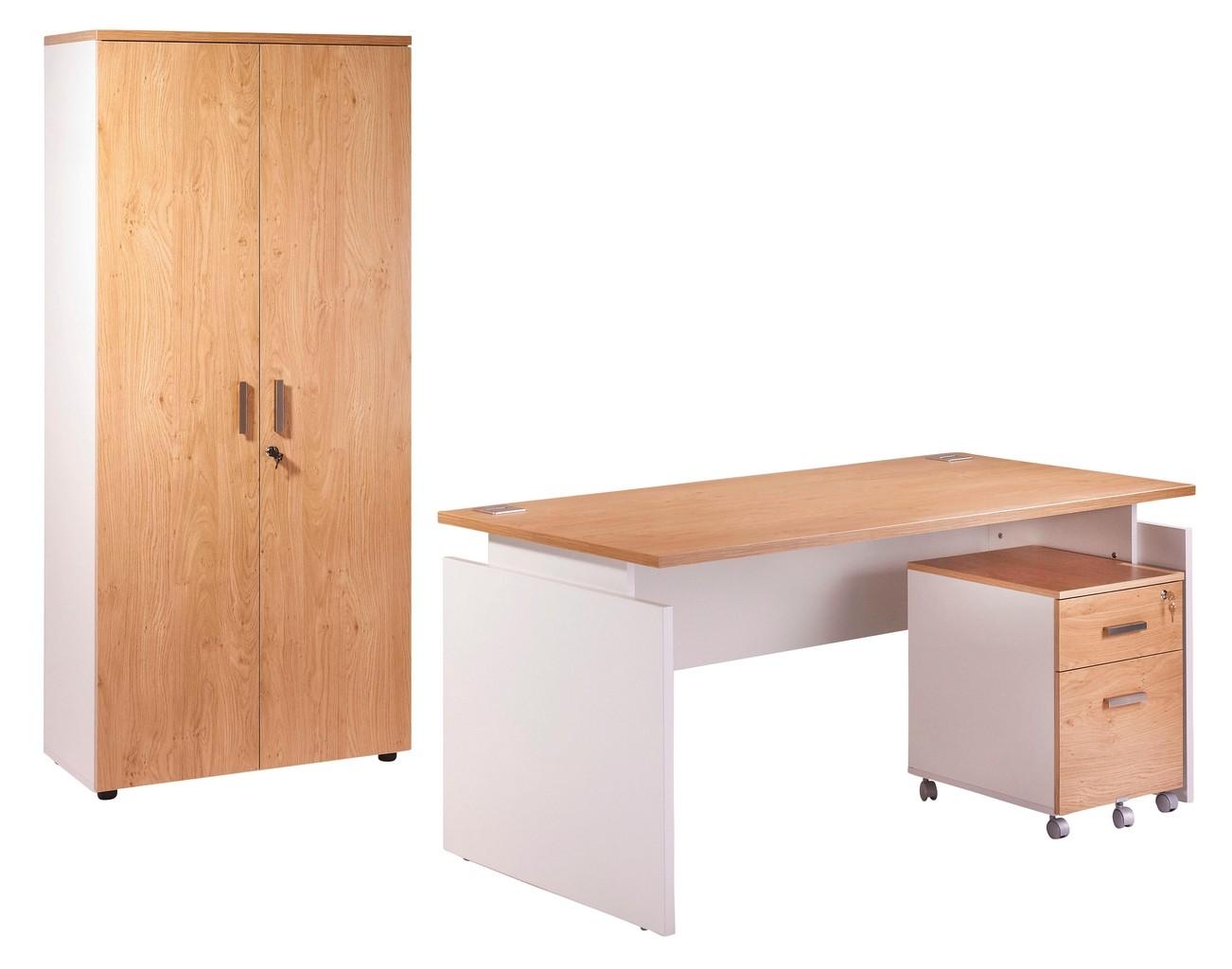 Pack bureau caisson tiroirs armoire blanc chêne clair
