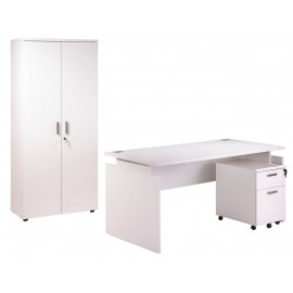 Pack Desk 160 + Pedestal 2 drawers + Tall office cupboard white INEO
