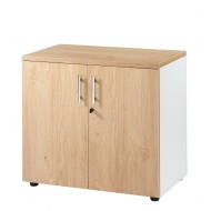 Office cabinet 2 doors White + Light Oak INEO