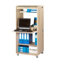 Office secretary desk on casters, with shutter-door, Oak, plain or printed