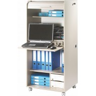 Office secretary desk on casters, with shutter-door, Taupe, plain or printed