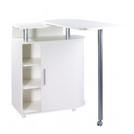 Kitchen island with rotating table 360° white + white roller-shutter
