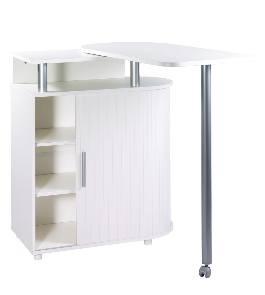 Kitchen Island With Rotating Table 360 White White Roller Shutter Simmob