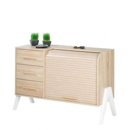 meuble d 39 entr e vintage rideau ch ne 3 tiroirs ch ne simmob. Black Bedroom Furniture Sets. Home Design Ideas