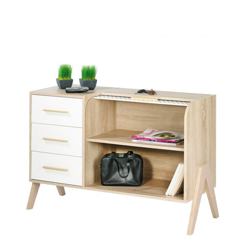 meuble dentre vintage rideau chne 3 tiroirs chne loading zoom