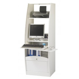 Curved office secretary desk with shutter-door L.60 cm