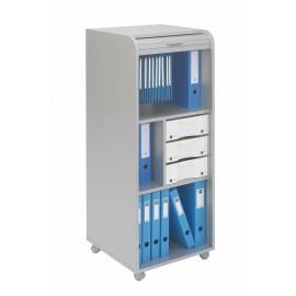Large office shutter storage trolley, alu, 3 drawers