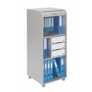 Large office shutter storage trolley, alu, 3 drawers