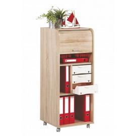 Large office shutter storage trolley, oak, 3 drawers