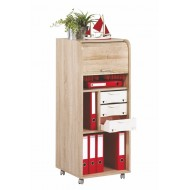 Large office shutter storage trolley, oak, 3 drawers
