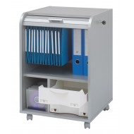 Office shutter storage trolley, alu, 2 drawers