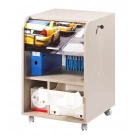 Office shutter storage trolley, taupe, 2 drawers