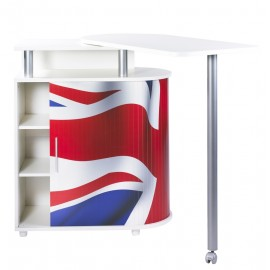 Kitchen island with rotating table 360° white + Union jack flag