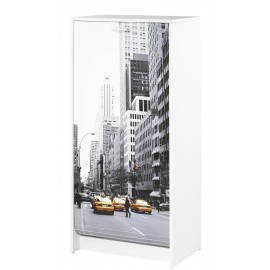 Shoe cabinet white shutter door, plain or printed