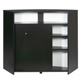 Bar drinks cabinet, kitchen top, reception desk, Black + 2 doors