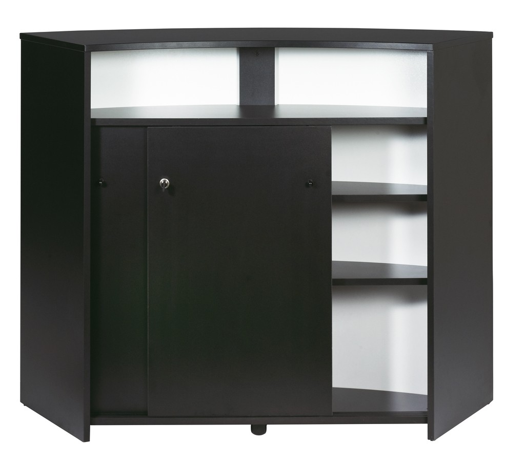 Bar Drinks Cabinet Kitchen Top Reception Desk Black 2 Doors Simmob